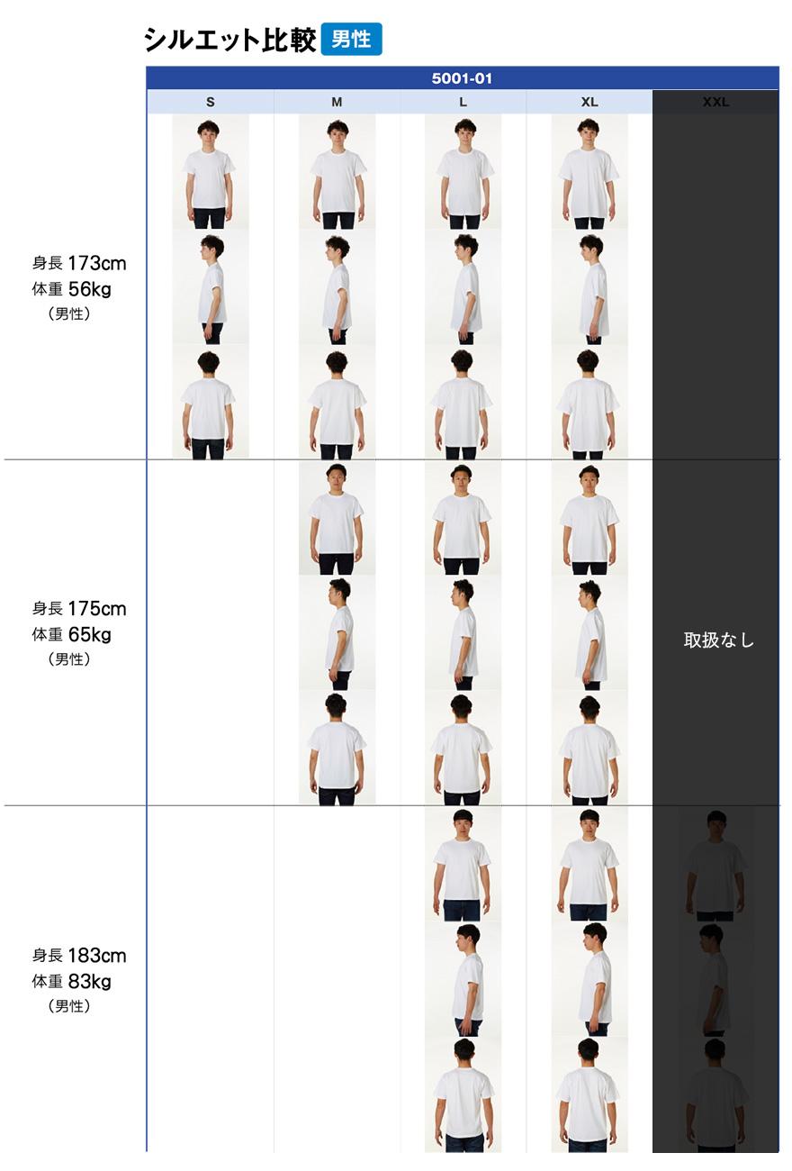 5001-01シルエット比較(男性)